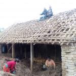 水牛小屋の屋根直し